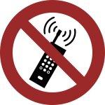 Eingeschaltete Mobiltelefone verboten