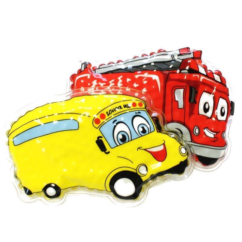 2er Set Kühlpads Feuerwehr gelbes Auto