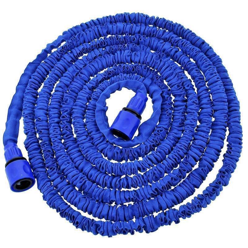 Flexi Gartenschlauch mit Sprühkopf 7,5m ausgedehnt, blau
