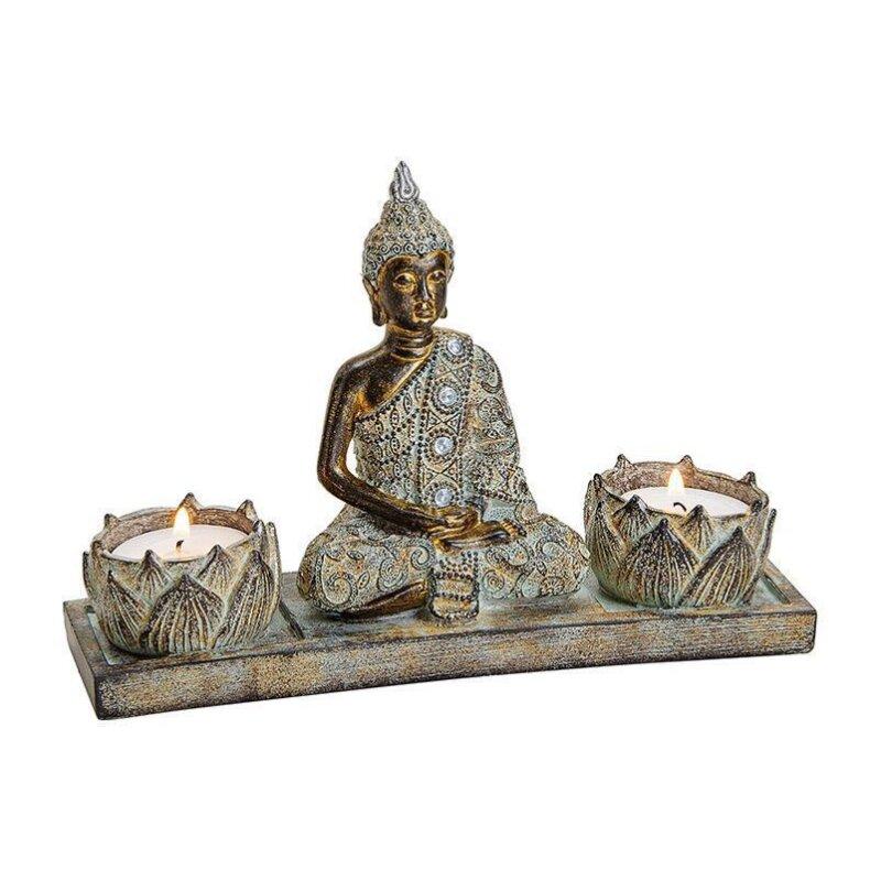 Buddha mit 2 Teelichthalter aus Poly, Braun