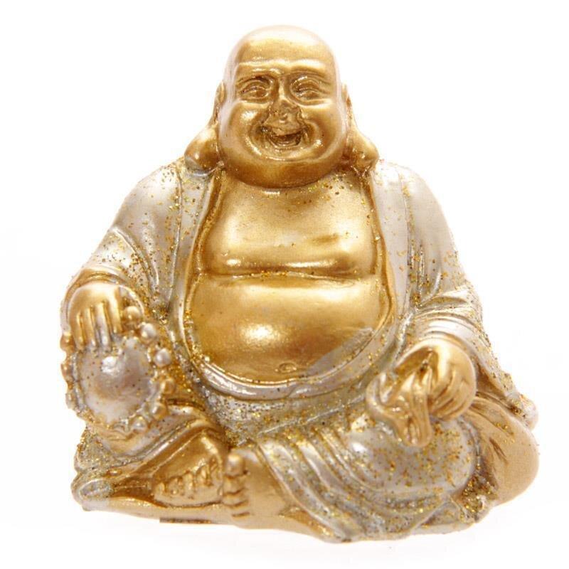 Mini Glitzer Glücks-Buddha Silber 4 cm