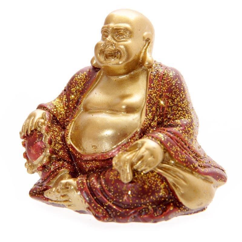 Mini Glitzer Glücks-Buddha Rot 4 cm