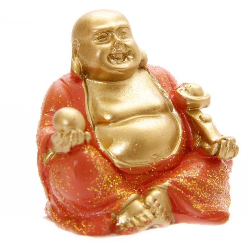 Mini Glitzer Glücks-Buddha Orange 4 cm