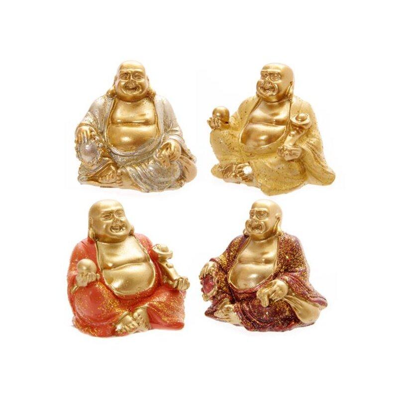 4er Sammlerset Mini Glitzer Glücks-Buddha 4 cm