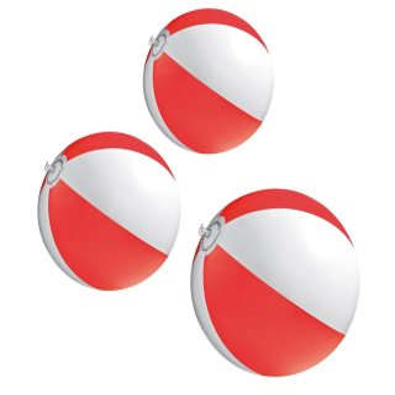 3er Set Strandball 26 cm Rot