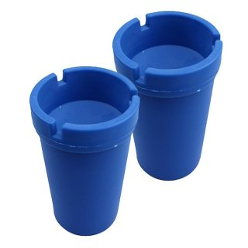 2er Set Aschenbecher Blau mit Deckel aus robustem Kunststoff