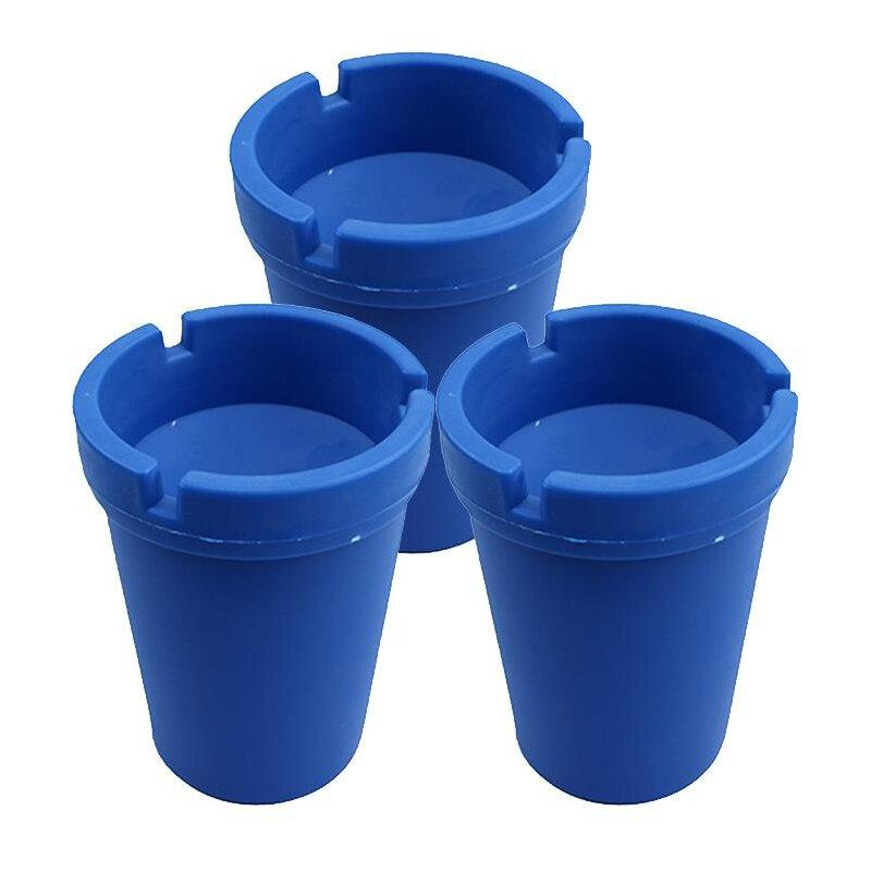 3er Set Aschenbecher Blau mit Deckel aus robustem Kunststoff