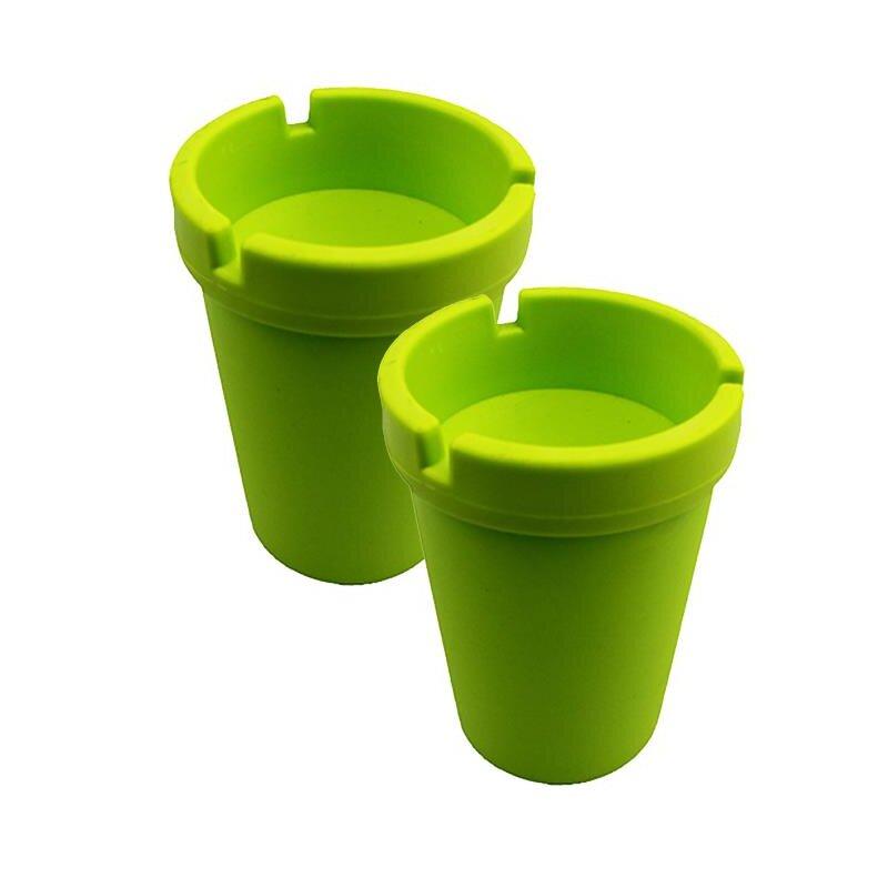 2er Set Aschenbecher Grasgrün mit Deckel aus robustem Kunststoff