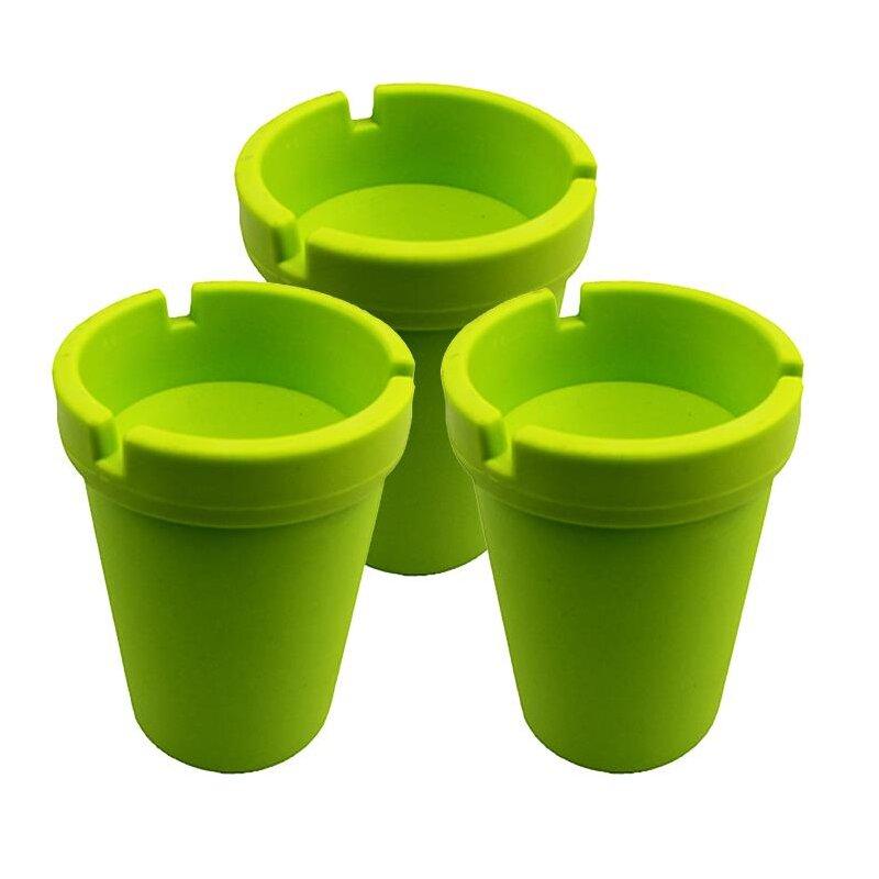 3er Set Aschenbecher Grasgrün mit Deckel aus robustem Kunststoff