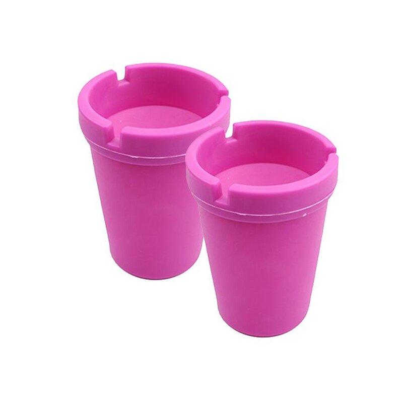 2er Set Aschenbecher Pink mit Deckel aus robustem Kunststoff