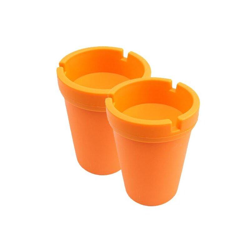 2er Set Aschenbecher Orange mit Deckel aus robustem Kunststoff