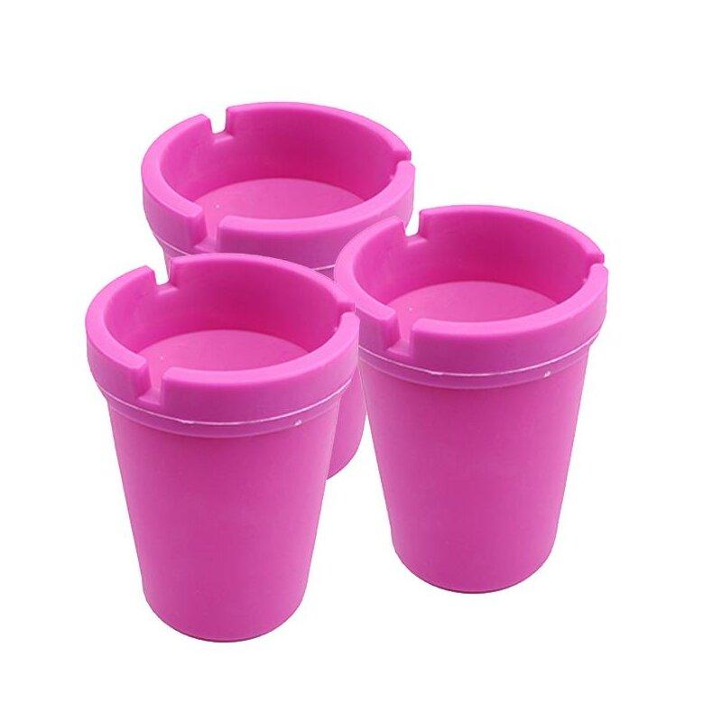 3er Set Aschenbecher Pink mit Deckel aus robustem Kunststoff