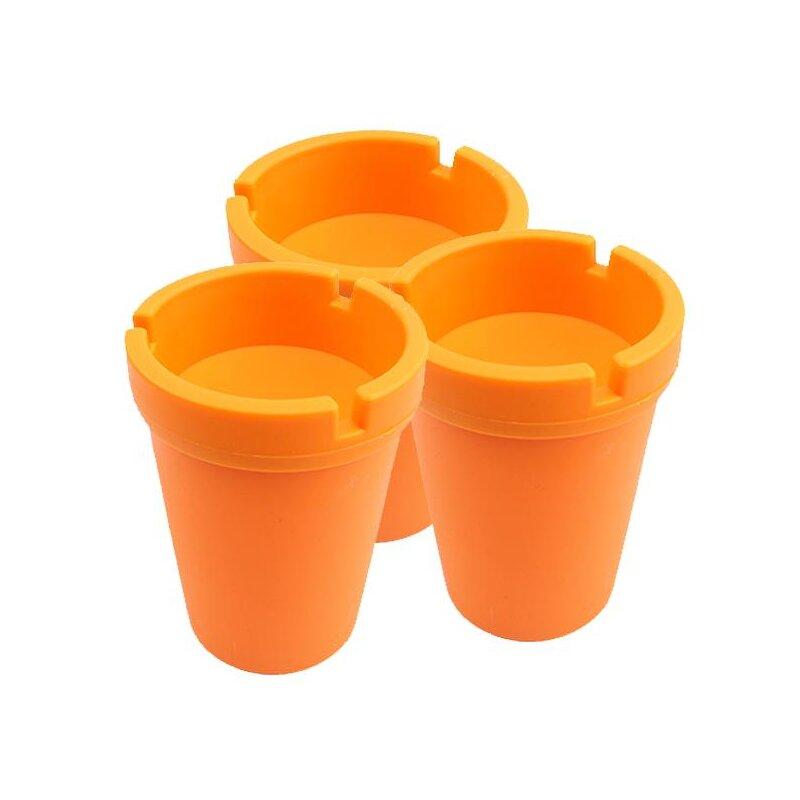 3er Set Aschenbecher Orange mit Deckel aus robustem Kunststoff