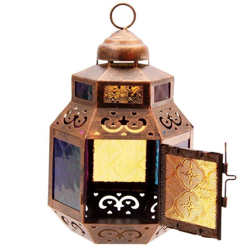 Marokkanische Laterne mit farbigem Glasseinsatz & Geschnittene M