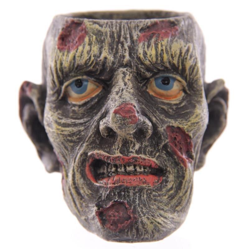 Zombie-Kopf schräg grinsent Teelichthalter 6,5cm