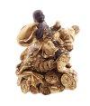 Buddha mit Sack auf Reichtum Kröte 10,5 cm