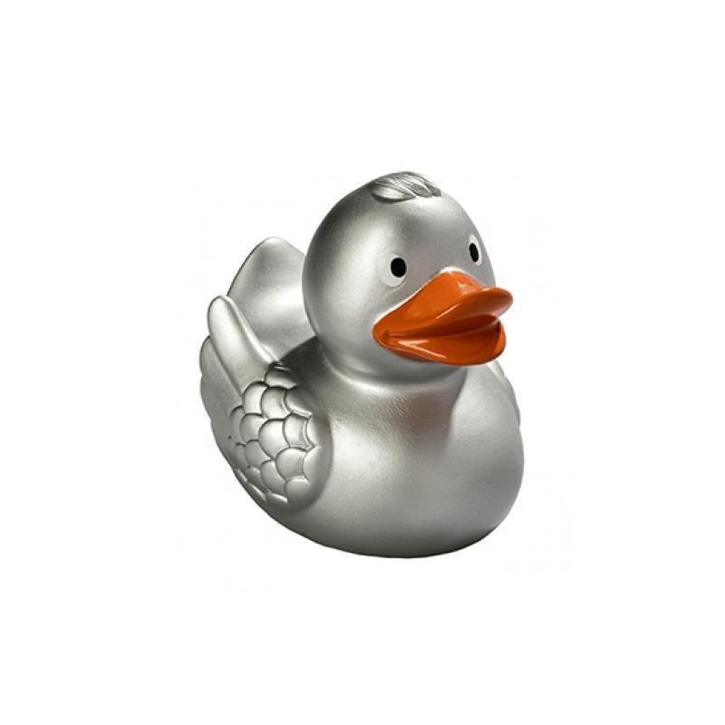 Quietsche-Ente silber Badespaß Gummiente Quitschente Badeente Badespielzeug