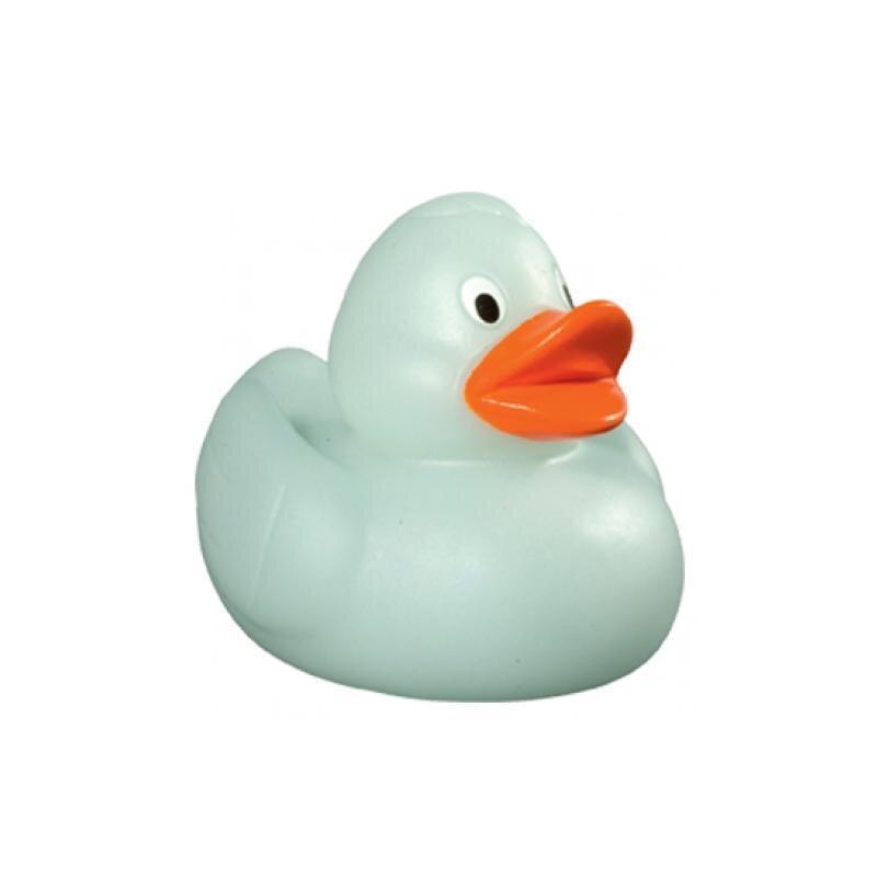 Quietsche-Ente nachleuchtend, türkis 65 mm Badeente Gummiente Spielzeugente Badespaß