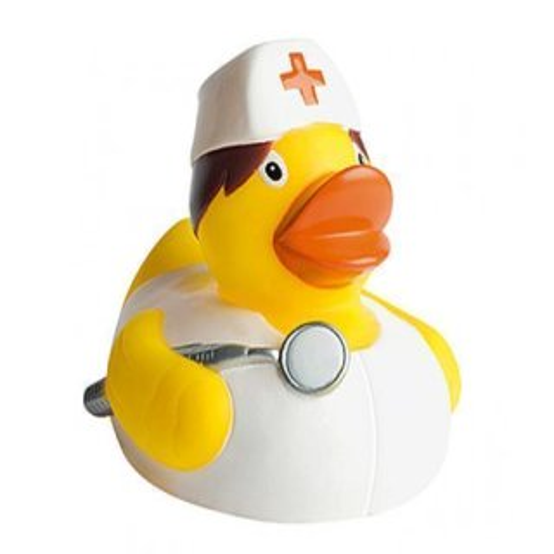 Quietsche-Ente Krankenschwester 8 cm Badespaß Gummiente Quitschente Badeente Badespielzeug