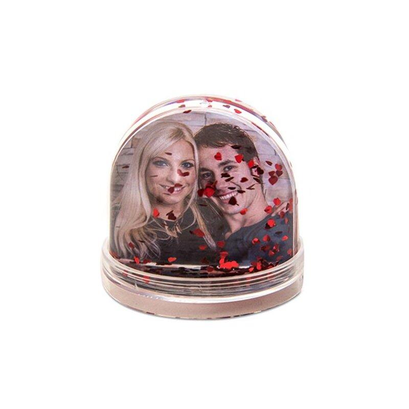 Schneekugel/Fotokugel für 2 Bilder mit roten Herzen - aus Acrylglas