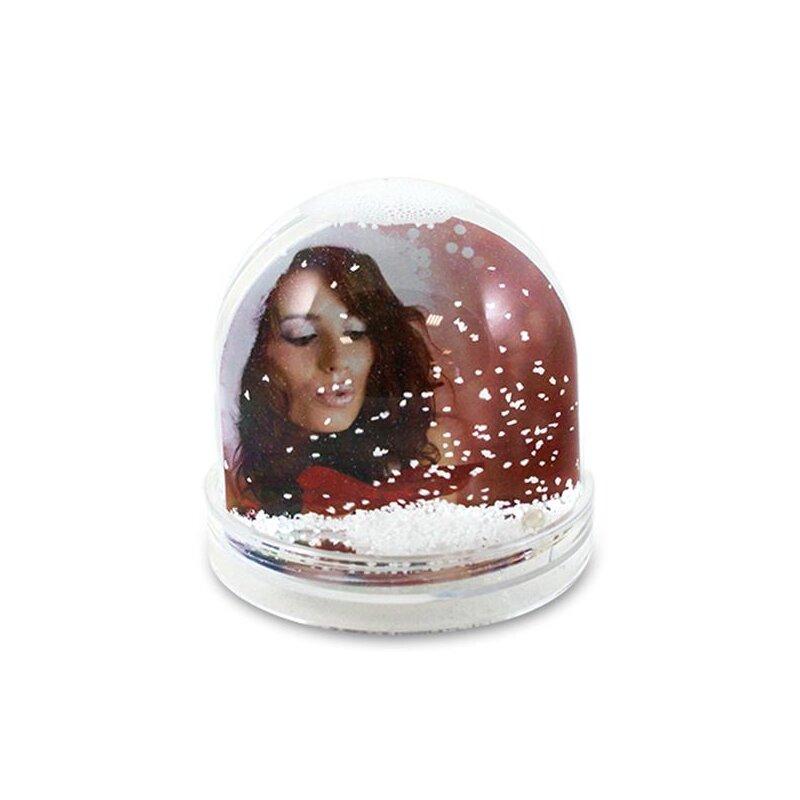 Schneekugel/Fotokugel für 2 Bilder mit weißen Schneeflocken