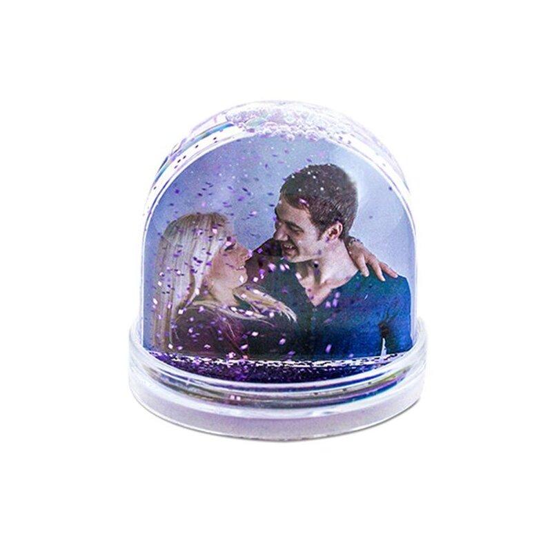 Schneekugel/Fotokugel für 2 Bilder mit lila Schneeflocken