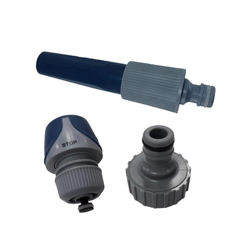 3er Set Schlauchzubehör Grundausstattung mit Spritze, Kupplung mit Wasserstop und Anschlussstück Ø 26 mm