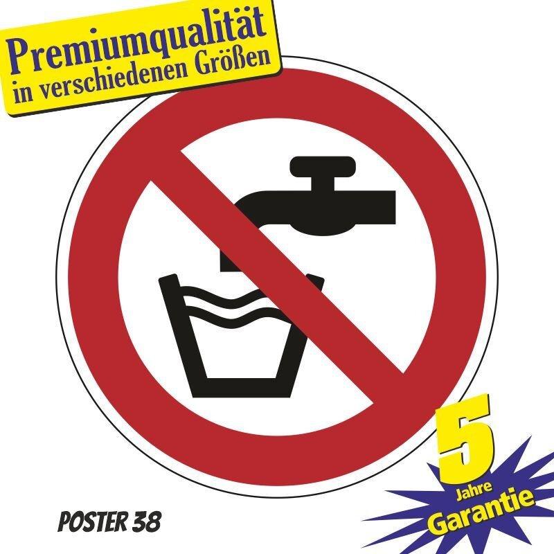 """Aufkleber """"Kein Trinkwasser"""", DIN ISO 7010, Premiumqualität in verschiedene Größen"""