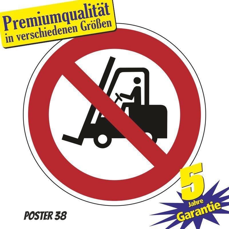 """Aufkleber """"für Flurfahrzeuge verboten"""", DIN ISO 7010, Premiumqualität in verschiedene Größen"""