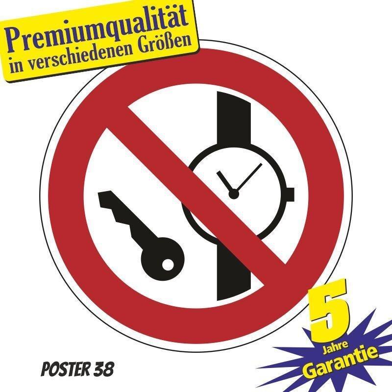 """Aufkleber """"Mitführen von Metallteilen oder Uhren verboten"""", DIN ISO 7010, Premiumqualität in verschiedene Größen"""