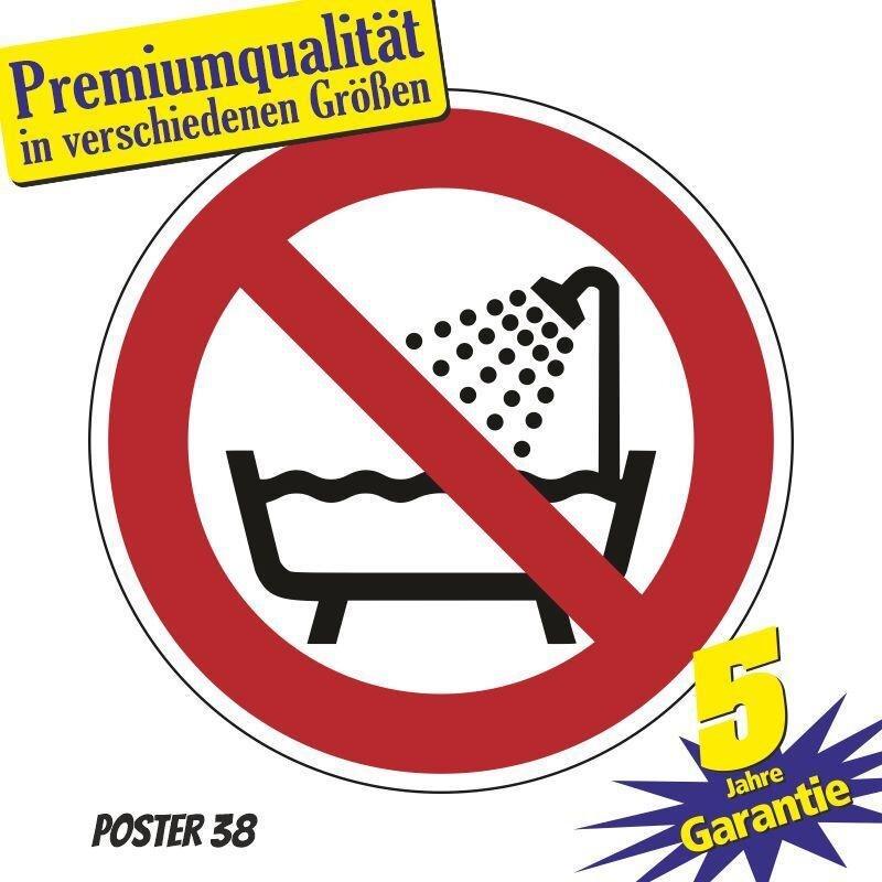"""Aufkleber """"Benutzung in Badewanne, Dusche, Becken verboten"""" DIN ISO 7010, Premiumqualität verschiedene Größen"""