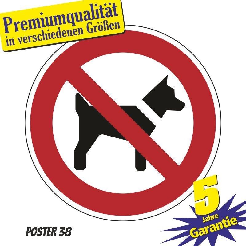 """Aufkleber """"Mitführen von Hunden verboten"""" DIN ISO 7010, Premiumqualität verschiedene Größen"""