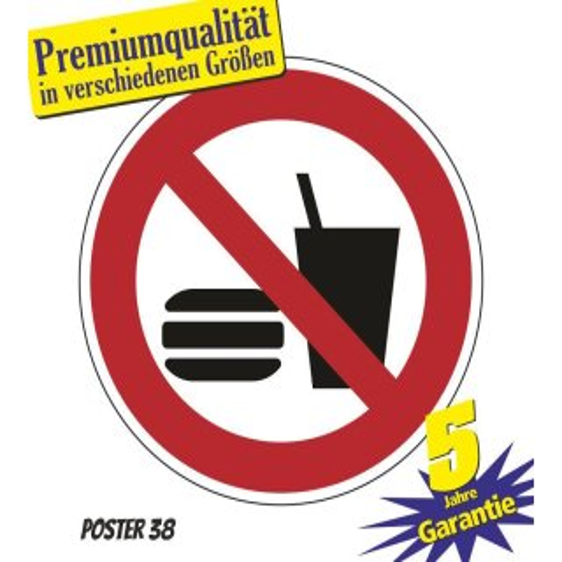 """Aufkleber """"Essen und Trinken verboten"""" DIN ISO 7010, Premiumqualität verschiedene Größen"""