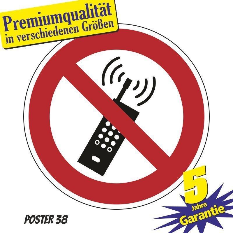 """Aufkleber """"Eingeschaltete Mobiltelefone verboten"""" DIN ISO 7010, Premiumqualität verschiedene Größen"""