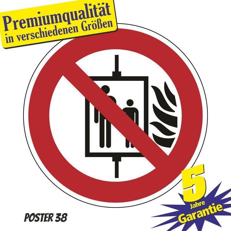 """Aufkleber """"Aufzug im Brandfall nicht benutzen"""" DIN ISO 7010, Premiumqualität verschiedene Größen"""