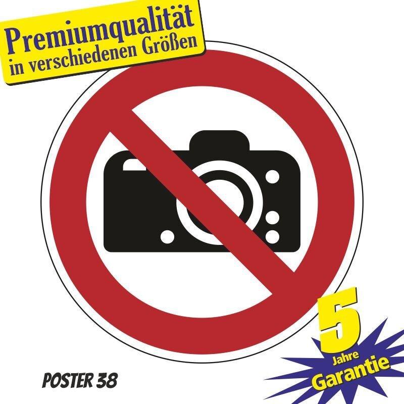 """Aufkleber """"Fotografieren verboten"""" DIN ISO 7010, Premiumqualität verschiedene Größen"""