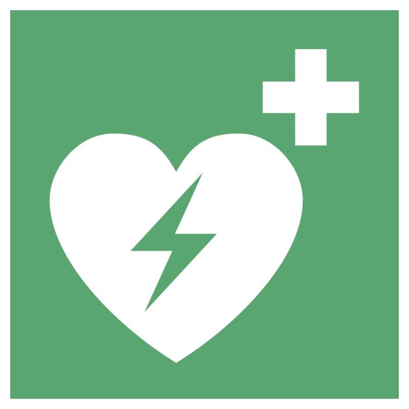 """Aufkleber """"Automatisierter Externer Defibrillator"""", DIN ISO 7010, Premiumqualität verschiedene Größen"""