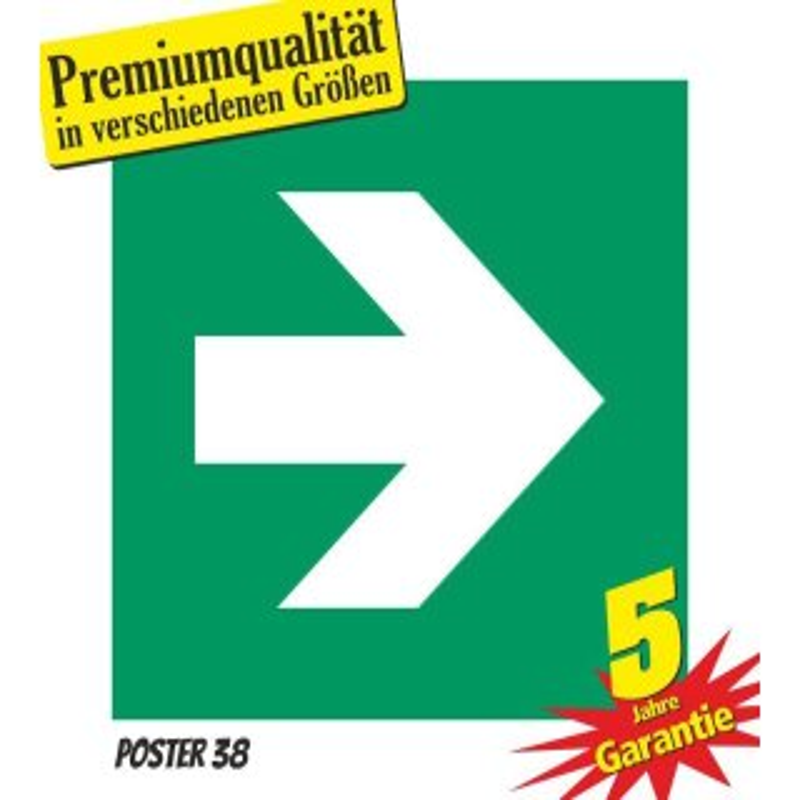 """Aufkleber """"Zusatzzeichen Pfeil rechts"""", DIN ISO 7010, Premiumqualität"""