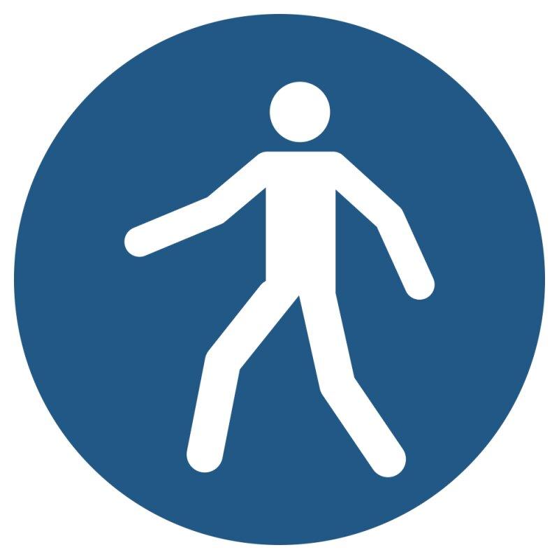 """Aufkleber """"Fußgängerweg benutzen"""", DIN ISO 7010, Premiumqualität verschiedene Größen"""