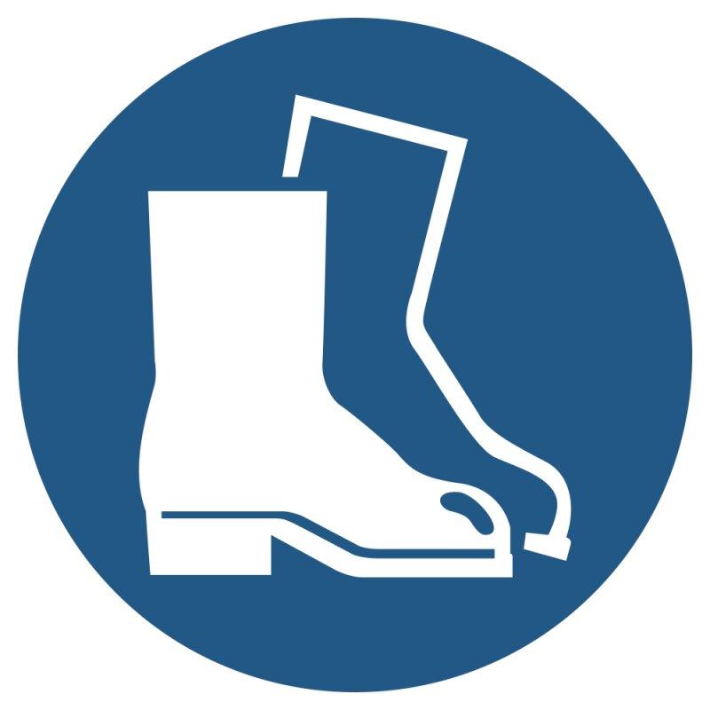"""Aufkleber """"Fußschutz benutzen"""", verschiedene Größen, Premiumqualität, DIN ISO 7010,"""