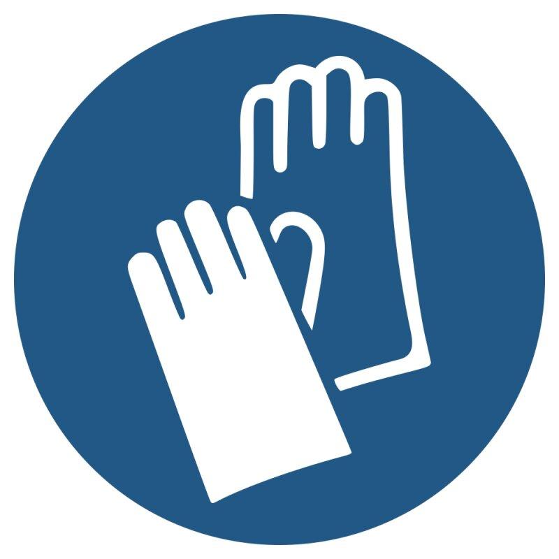 """Aufkleber """"Handschuhe benutzen"""", DIN ISO 7010, Premiumqualität verschiedene Größen"""