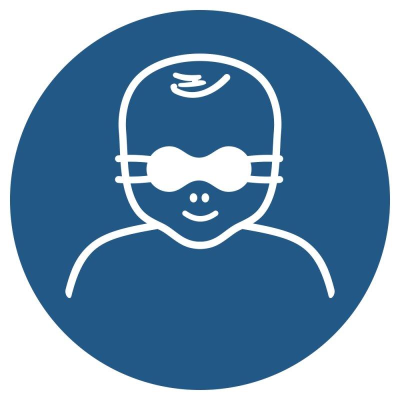 """Aufkleber """"Kleinkinder durch weitgehend  lichtundurchlässige Augenabschirmung schützen"""", DIN ISO 7010, Premiumqualität verschiedene Größen"""