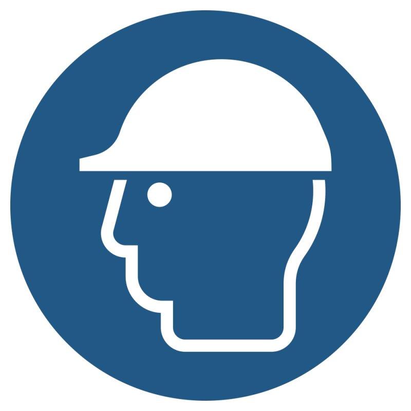 """Aufkleber """"Kopfschutz benutzen"""", DIN ISO 7010, Premiumqualität verschiedene Größen"""