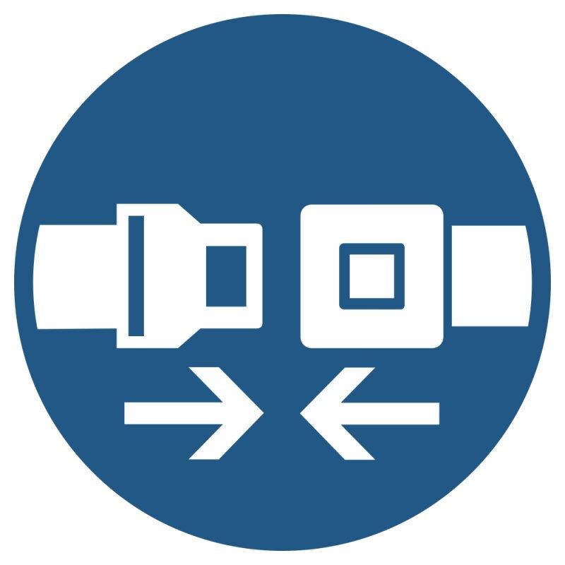 """Aufkleber """"Rückhaltesystem benutzen"""", DIN ISO 7010, Premiumqualität verschiedene Größen"""