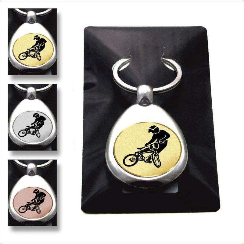 """""""BMX"""" Schlüsselanhänger mit Einkaufschip Sport in Gold/Silber/Bronze"""