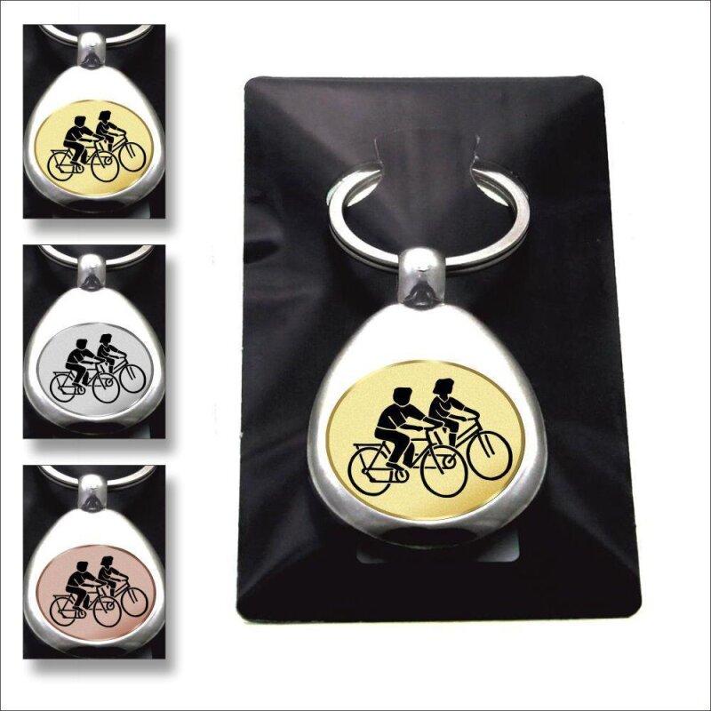 """""""Fahrrad fahren"""" Schlüsselanhänger mit Einkaufschip Sport in Gold/Silber/Bronze"""