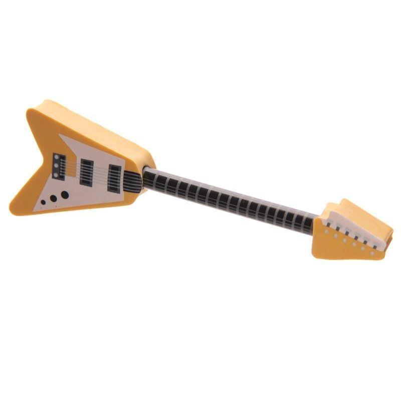 Rock Gitarre Bleistift & Radierer Set in Gelb