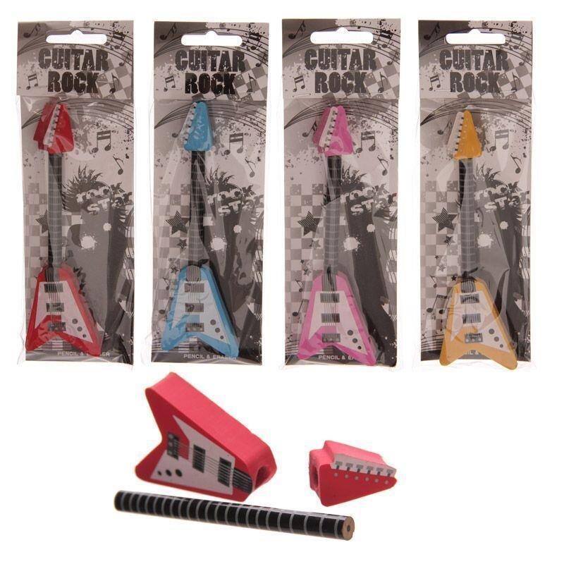4er Set Rock Gitarre Bleistift & Radierer in Blau, Rot, Gelb und Rosa