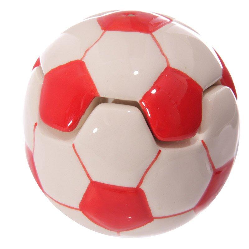Roter Fussball Eierbecher mit Salzstreuer