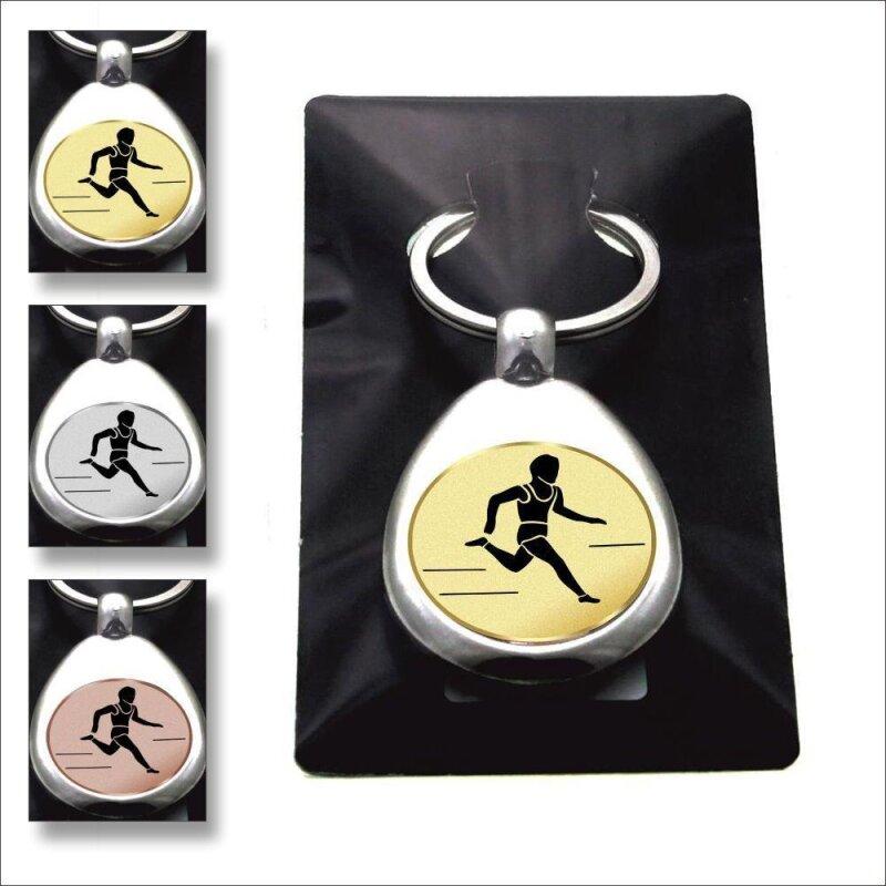 """""""Leichtathletik Laufen"""" Schlüsselanhänger mit Einkaufschip Sport in Gold/Silber/Bronze"""